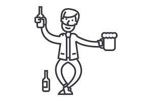 drunk man vector line icon, sign, illustration on background, editable strokes