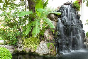 Waterfall in decorated garden