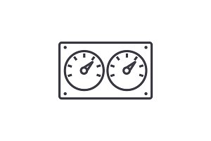 dual control meter  vector line icon, sign, illustration on background, editable strokes