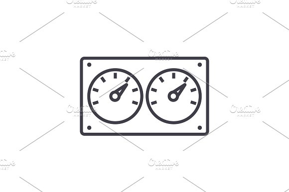 Dual Control Meter Vector Line Icon Sign Illustration On Background Editable Strokes
