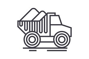 dumper truck with sand vector line icon, sign, illustration on background, editable strokes