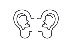 ear vector line icon, sign, illustration on background, editable strokes