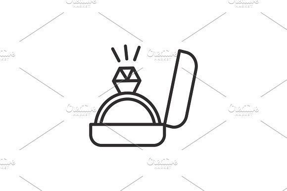 Engagement Ring Sign Vector Line Icon Sign Illustration On Background Editable Strokes