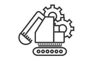 excavator vector line icon, sign, illustration on background, editable strokes