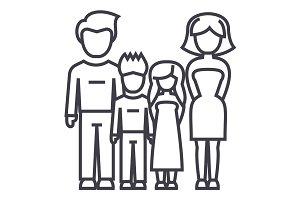 family,father, mother, son, daughter vector line icon, sign, illustration on background, editable strokes