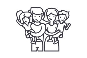 family,happy parents and children keep on hands vector line icon, sign, illustration on background, editable strokes