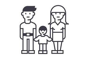 family,mother father and son vector line icon, sign, illustration on background, editable strokes