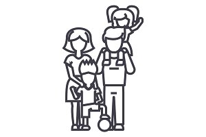 family,on father s shoulders, mother holding son,son with ball vector line icon, sign, illustration on background, editable strokes