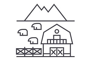farm in tuscany vector line icon, sign, illustration on background, editable strokes