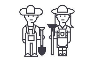 farmers,woman and man with tools vector line icon, sign, illustration on background, editable strokes