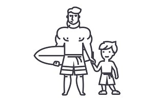 father with son on vacation with surfing board vector line icon, sign, illustration on background, editable strokes