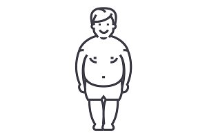 fatty man,fat guy vector line icon, sign, illustration on background, editable strokes