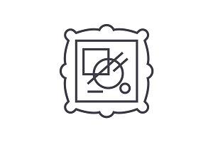 fine art vector line icon, sign, illustration on background, editable strokes