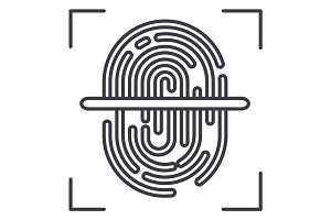 finger scanner vector line icon, sign, illustration on background, editable strokes