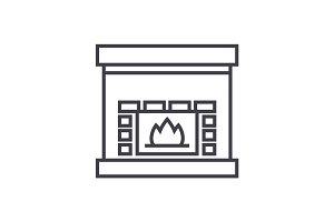 fireplace,hearth vector line icon, sign, illustration on background, editable strokes