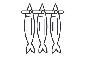 fish drying vector line icon, sign, illustration on background, editable strokes