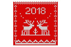 Christmas knitted reindeer pattern