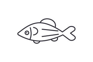 fish salmon vector line icon, sign, illustration on background, editable strokes