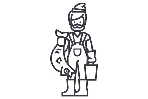 fisherman with fish vector line icon, sign, illustration on background, editable strokes