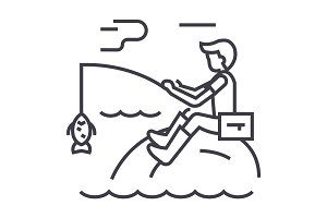 fishing man with rod vector line icon, sign, illustration on background, editable strokes