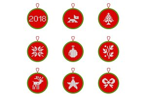 Christmas knitted decorations set