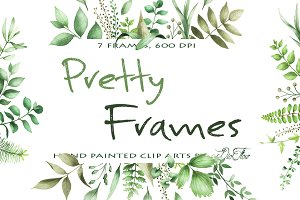Pretty Frames Watercolor Clip Arts