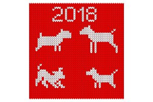 Knitted silhouettes of dogs