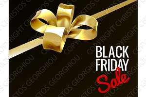 Black Friday Sale Gold Gift Bow Sign