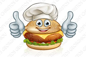 Chef Burger Food Cartoon Character Mascot
