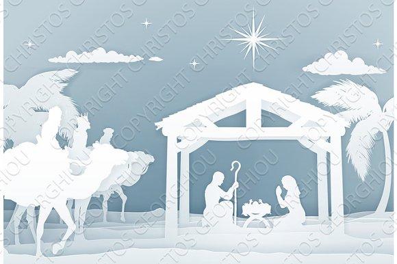 nativity christmas scene papercraft style illustrations creative
