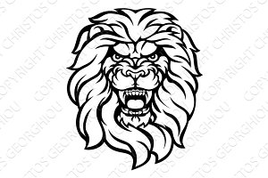 Roaring Lion Head Illustration