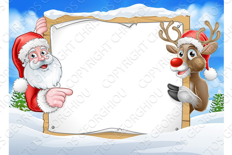 146b6df107a47 Christmas Sign Reindeer and Santa Background ~ Illustrations ...