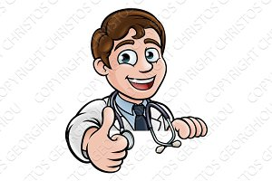 Doctor Cartoon Character Thumbs Up