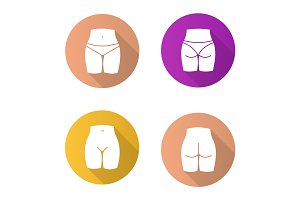 Female body parts flat design long shadow glyph icons set