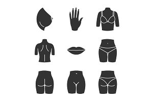 Female body parts glyph icons set