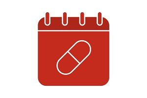 Medications taking schedule glyph color icon