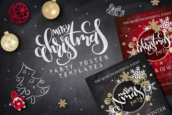 Fairy Christmas lettering posters