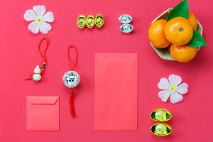 Top view Chinese new year concept.