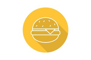Hamburger flat linear long shadow icon