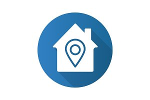 Home location flat design long shadow glyph icon