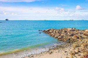 Large stone beach.