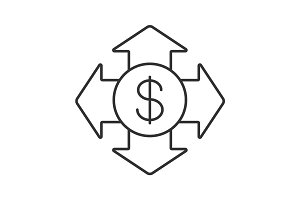 Money spending linear icon
