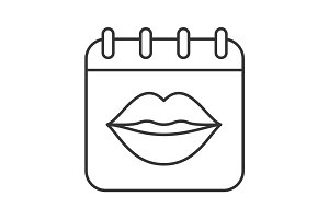 International Kissing Day linear icon