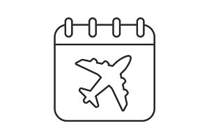 Plane departure date linear icon