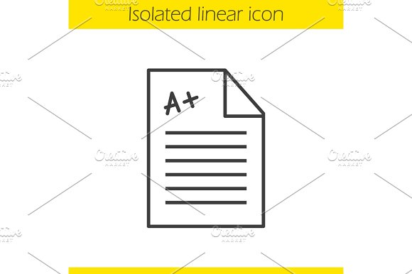 School test with excellent mark linear icon