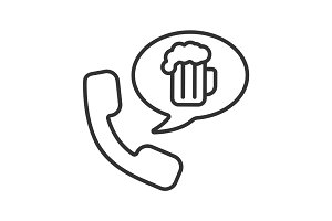 Beer order by phone linear icon
