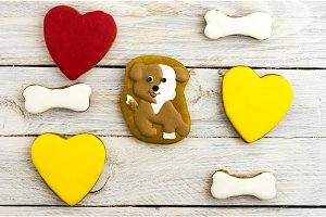 Spotted dog, hearts and bones. Sweet cakes.