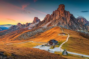 Giau pass in Dolomites, Italy