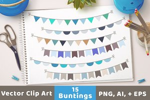 15 Winter Buntings Clipart