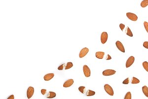almonds isolated on white background with copy space for your text. Top view